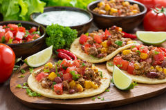 Mexican cuisine - tortillas with chili con carne, tomato salsa Stock Image