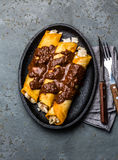 Mexican cuisine. Traditional Mexican chicken enchiladas with spicy chocolate salsa mole poblano. Enchiladas with sauce Royalty Free Stock Photography