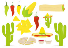 Mexican cuisine vector set Royalty Free Stock Photo