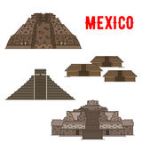 Mexican cultural ancient landmarks icons Royalty Free Stock Images