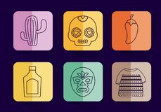 Mexican culture design. Icon set of mexican culture concept over colorful squares and blue background, vector illustration Royalty Free Stock Photo