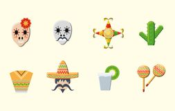 Mexican culture design. Mexican culture related icons over white background, colorful design vector illustration Stock Image