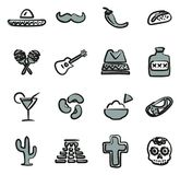 Mexican Culture Icons Freehand 2 Color