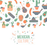 Mexican culture logo for labels, emblems and badges, set of vector design elements Royalty Free Stock Photography
