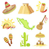 Mexican Culture Symbols Set Stock Photos