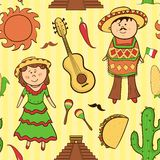 Mexican culture vector seamless pattern Royalty Free Stock Image