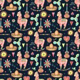 Mexican cute watercolor seamless pattern Stock Photos