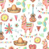 Mexican cute watercolor seamless pattern Stock Image