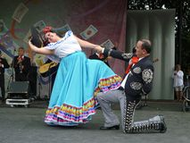 Mexican Dance Conclusion. Photo of mexican man and woman with the conclusion of their dance at the cinco de mayo celebration on 5/2/10 at the washington monument Royalty Free Stock Images