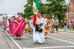 Mexican dance group in colorful dresses Stock Photography