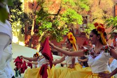 Mexican dance group on stage at Festival Cultural Royalty Free Stock Image