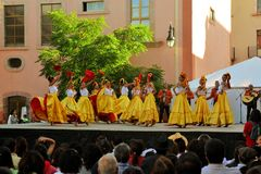 Mexican dance group on stage at Festival Cultural Stock Photo