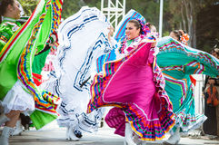 Mexican Dancers. COSTA MESA, CA - JULY 24: Unidentified Mexican dancers perform in traditional costumes on stage at the Orange County State Fair in Costa Mesa Royalty Free Stock Photos