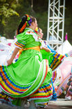Mexican Dancers. COSTA MESA, CA - JULY 24: Unidentified Mexican dancers perform in traditional costumes on stage at the Orange County State Fair in Costa Mesa Stock Photo