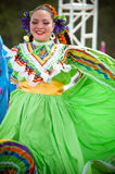 Mexican Dancers. COSTA MESA, CA - JULY 24: Unidentified Mexican dancers perform in traditional costumes on stage at the Orange County State Fair in Costa Mesa Stock Photography