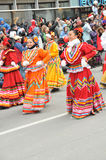 Mexican dancers at Santa Parade. Mexican teens participate in the Santa Claus Parade...Montreal...colorful festive costumes Royalty Free Stock Image