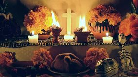 Mexican day of the dead altar (Dia de Muertos) stock footage