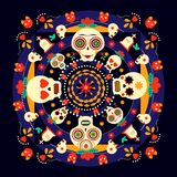 Day of the dead sugar skull holiday background Stock Photo