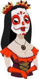 Mexican Day of the Dead masked girl. Calavera, Santa Muerte, Folklore costume for festivity vector illustration