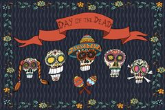 Mexican day of the dead poster. Hand drawn  illustration. With skull, flowers and ethnic elements Stock Image