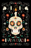 Day of the dead hand drawn mexican sugar skull art Stock Photography