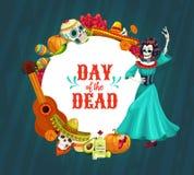 Mexican sugar skulls, skeletons, sombreros, guitar. Mexican Day of the Dead vector skulls and Catrina with Dia de los Muertos festival sombrero, guitar and vector illustration