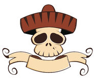 Mexican deaths head. Illustration of deaths head skull with Mexican hat, banner and copy space; isolated on white background Royalty Free Stock Photography