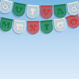 Mexican decoration. With viva mexico (long live mexico) paper bunting ornaments on blue sky background, with clipping path Royalty Free Stock Photography