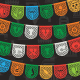 Mexican decoration. With viva mexico (long live mexico) paper bunting ornaments on seamless background pattern, with clipping path Royalty Free Stock Photography