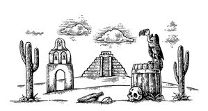 Mexican desert landscape with griffin on barrel, cactus, cloud, church. Mexican desert landscape with griffin sitting on barrel and skull, cactus, cloud, church royalty free illustration