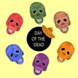 Dia de los Muertos. Day of the Dead sugar skulls. Mexican Dia de los Muertos. Collection of the Day of the Dead sugar skulls calavera in different colours Stock Images