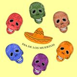 Dia de los Muertos. Day of the Dead sugar skulls. Mexican Dia de los Muertos. Collection of the Day of the Dead sugar skulls calavera in different colours Stock Image