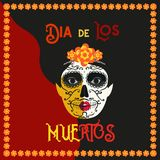Day of the dead concept. Mexican Dia de los Muertos. Day of the Dead Woman with Sugar Skull Face tattoo. Tradition holiday in Mexico. Flat colorful style. Vector Royalty Free Stock Photography