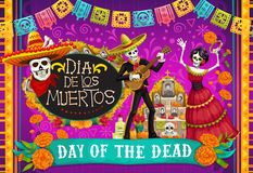 Mexican Dia de los Muertos, skeletons dancing. Day of Dead, Dia de los Muertos fiesta, skeleton in Mexican costumes and sombrero, play music and dance. Vector stock illustration
