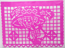 Mexican dia de muertos papel picado cut paper skull art featuring Catrina Royalty Free Stock Image