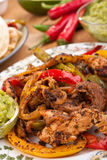 Mexican dish. With chicken, beef and vegetables Stock Image