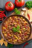 Mexican dish chili con carne, top view Royalty Free Stock Images