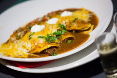 Mexican dish enchillada stuffed with hot meat. Mexican enchilada corn tortilla covered chili pepper sauce in plate Stock Photography