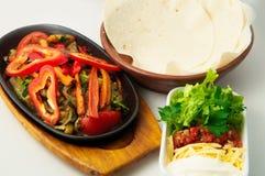 Mexican dish fajitas. In studio on the white background Stock Photo