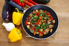 Mexican dish in frying pan Royalty Free Stock Photos