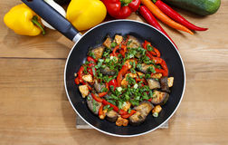 Mexican dish in frying pan Royalty Free Stock Photography