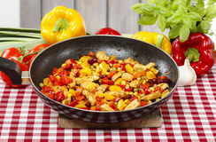 Mexican dish in frying pan. Traditional kitchen Stock Photography