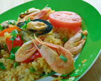 Mexican dish prepared with white rice and seafood. Stock Image
