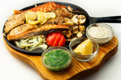 The mexican dishes mega fish grill pan Royalty Free Stock Images