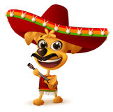 Mexican dog in sombrero plays guitar Stock Photo