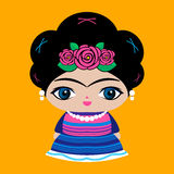 Mexican Doll vector illustration, Mexico traditional style doll. Stock Photo