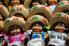 Mexican dolls with sombreros Stock Images