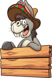 Mexican donkey. Cartoon Mexican donkey with wooden sign. Vector clip art illustration with simple gradients. All in a single layer stock illustration