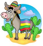 Mexican donkey in desert stock illustration
