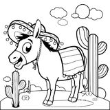 Mexican donkey in the desert. Black and white coloring book page. Vector illustration of a cartoon Mexican donkey wearing a sombrero in the desert. Coloring book royalty free illustration